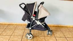 Conjunto de carrinho e bebê conforto com suporte