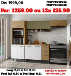 Armário de Cozinha- Cozinha Compactada com Balcão- Gourmet Lazer-SaldãoMS