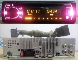 Aparelho Pioneer Mixtrax Colorido, controlador de sub, 4 RCA, CD, USB, Auxiliar, rádio