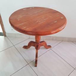 Mesa de madeira demolição redonda