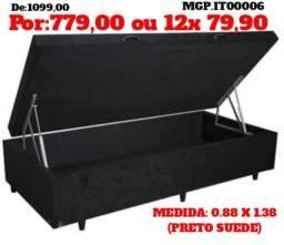 Cama Bau Box Solteiro - Base Box Bau 88- Bau Cama Solteiro - LiquidaDormitorioMS