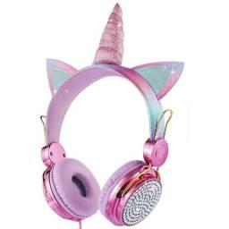 Fone De Ouvido Unicórnio Com Fio Headphone Crianças