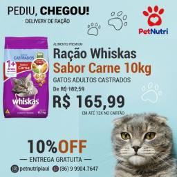 Ração Whiskas Sabor Carne para Gatos Adultos Castrados