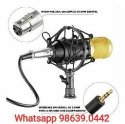 Kit Microfone Condensador Estúdio Bm800 + acessórios (Novo, aceito cartão)