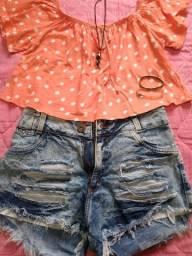 Short TAM 40+blusa média+colar+pulseiras= 12,00