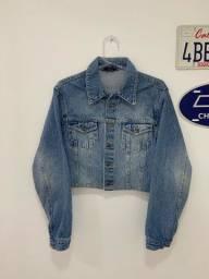 Jaqueta jeans cropped vintage