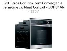 Forno embutir 78 Litros Cor Inox com Convecção e Termômetro Meat Control - BOH84AR
