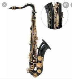Vendo sax tenor preto da chave dourada