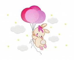 matriz de bordado - coelhinhos com balões