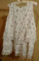 Vestido criança semi novo ceda com bolas cinzas
