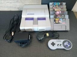 Super Nintendo com 06 jogos
