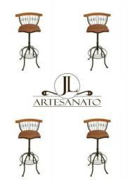 Kit 4 Banquetas Alta Cozinha Americana Ferro E Madeira -80cm