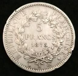 Moeda prata 5 Francos - Peso: 25 gramas - Frete grátis!