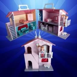 Casinha de Boneca Maleta em MDF Pintada (Com os móveis)