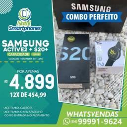 Samsung Galaxy S20 PLUS+ACTIVE 2 44MM * PRETO * / LACRADO+GARANTIA 1 ANO+NF