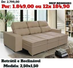 Sofa Retratil e Reclinavle 3 Lugares 2,50 em Molas-Grande-Barato-DescontadoEstofadoMS