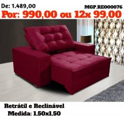 LiquidaEstofadoMS- Sofa Retratil e Reclinavel 1,50 em Molas-Sofa Confortavel-Barato