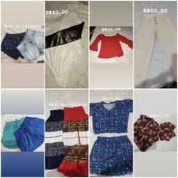 Shorts, bory, blusa, calça, saias, macaquinha e conjunto blusa e saia.