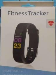 Relógio inteligente Smartband, monitor cardíaco, pressão arterial, monitor pra esportes