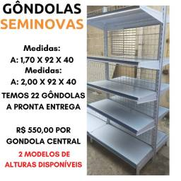 Gondola Central Seminova Usada 22M lineares Gondolas Aço Gondola Lote ou Parcial