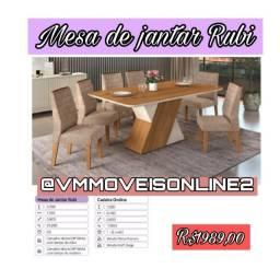 Mesa  mesa de jantar  6 lugares rubi - entregamos  e montamos