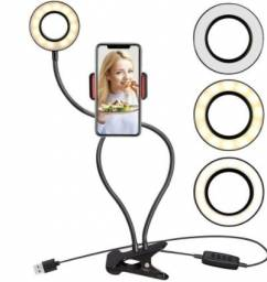 Ring light clip de mesa com suporte de celular
