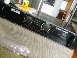 Título do anúncio: Amplificador Mark Audio MK1200 +Par de caixas de som.