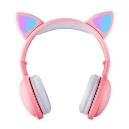 Fone De Ouvido Light Headphone Orelha Gato Bluetooth Bh-s523