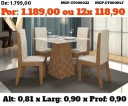 Conjunto de Mesa de 4 Cadeira- Mesa de Jantar 4 Cadeira- Saldão em MS