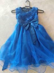 Vestido Infantil Festa Azul 5-7 anos