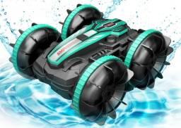 Carrinho de Controle Remoto Anda na Água e Terra 4WD, Gira 360 Graus Novo