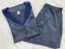 Pijama de cetim de seda azul-marinho Afeto Costura