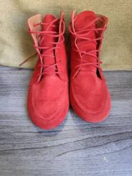 Bota Flat Camurça Prabaila Vermelha