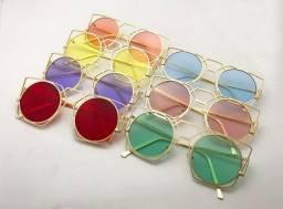 Óculos de Sol Feminino Redondo Colorido