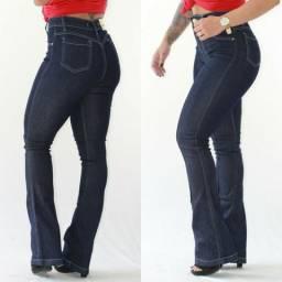 Calça jeans flare cintura alta com lycra