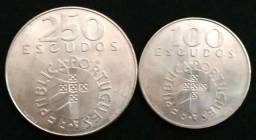2 Moedas de prata - Portugal 100 & 250 escudos - Coleção 25 de Abril