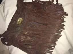 Bolsa couro marca couribi com franja