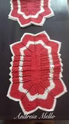 Tapete de croche vermelho