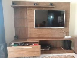 Estante com gaveta, 2 prateleiras de vidro e luz, suporte tv até 60 polegadas...