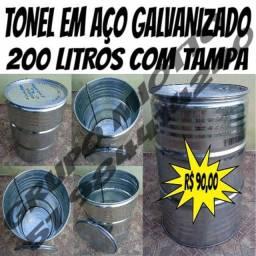Tonel de Aço Galvanizado - Tambor - Lixeira de Latão - 200 Litros com Tampa Removivel