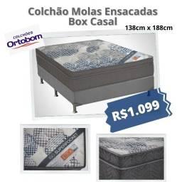 Título do anúncio: Oferta!!!!! Colchão Mola Ensacada Ortobom + Box Casal - Frete Grátis