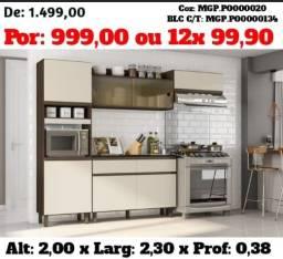 Cozinha Compactda com Balcão - Armario de Cozinha-Gourmet-Area Lazer-SaldãoLiquida