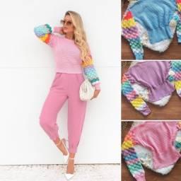 Blusa de tricot manga longa varios modelos moda