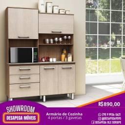 Armário de cozinha 4 portas/3 gavetas