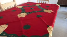 Toalha de natal vermelha, em jacqard, redonda