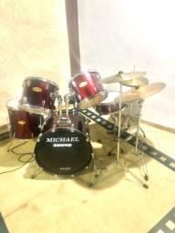 Bateria Acústica Michael + estante e prato oreon