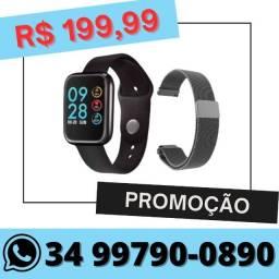 Relógio Inteligente Smartwatch P80 com duas pulseiras Preto