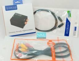 Kit Conversor de Áudio Óptico p Rca