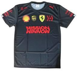 Camiseta F1 Ferrari Preto Fórmula 1 Esporte Corrida