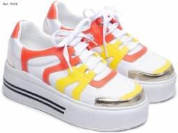 Tênis Feminino Branco/amarelo/laranja/dourado Torricella Novo TAM  34 ao 39